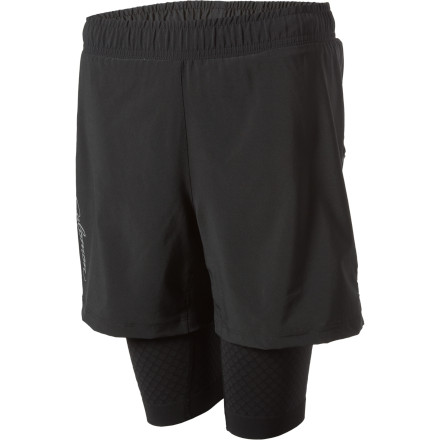 Fitness The Salomon Women's Exo Motion Shorts combine the support and compression of race-day shorts with a light overshort for extra coverage. - $39.98