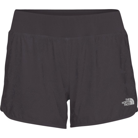 Fitness Stride, sprint, and cool down in total comfort with The North Face Womens Eat My Dust Short. Light, stretchy material, a wide waistband, and a flattering fit, help guide you to your finish line. A DWR finish sheds water during rainy runs and helps the short dry quickly for extra comfort during summertime training. - $26.97