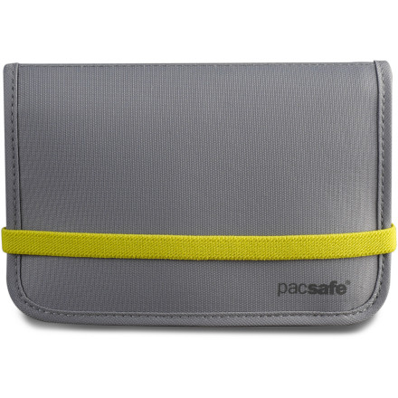 Entertainment If you're worried about identity theft at home or abroad, then the Pacsafe RFID 150 Compact Organizer will help ease that anxiety. The durable yet flexible material blocks RFID signals transmitted from discrete devices that scammers use to steal data from credit cards. Your cards, money, change, and passport are neatly organized within the multiple slots, and a snap flap with added elastic band keep the 150 Compact Organizer closed. - $34.95
