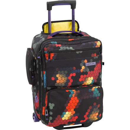 Entertainment Don't get caught wearing the same pair of socks for three days. The Burton Wheelie Flyer Rolling Gear Bag hauls everything you need for a weekend trip without taking a chance on the ever-popular, often frustrating game of Checked-Bag Roulette. - $169.95