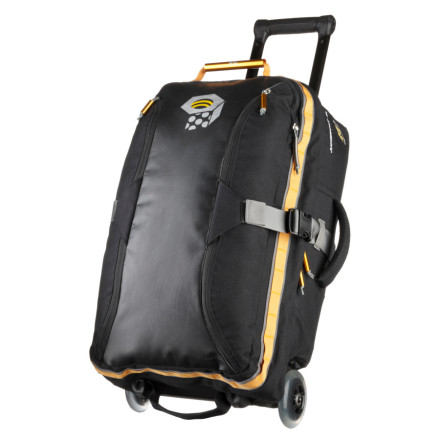 Camp and Hike Sized to eek out every bit of carry-on space, the Mountain Hardwear Juggernaut 45 Rolling Gear Bag brings the strength and functionality of an expedition duffel to your routine air travel. A welded alloy frame and burly shell materials protect your essentials from transit abuse while the large urethane skate wheels (each with an independent axle) provide a smooth ride through the terminal. Mountain Hardwear included an internal compression panel to keep your clothes neatly packed and a large lid pocket that fits the rEVA Laptop Case (sold separately). - $206.47