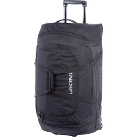 Camp and Hike With just enough space to fit the things you need for a long weekend in Maui, the DAKINE Wheeled Duffle Bag gives you a soft-top alternative to that boxy rolling luggage your mom owns. This rolling bag rocks a u-shaped top opening for quick access and a retractable handle that makes running between terminal gates a breeze. Stuff the zippered end pockets with a few goodies for the road, and stash this sweet carry-on in the only remaining overhead space. - $159.95