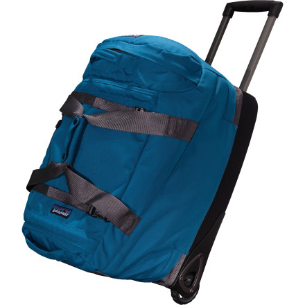 Entertainment The Patagonia Freewheeler 4000cu in Rolling Gear Bag is a multifunctional, compartmentalized, wheeled gear bag built to haul heavy loads. Were not talking about lugging around catalytic converters, but it could probably do that too. This newly redesigned Patagonia wheeled bag features an intelligent pocket layout built to carry a weeks worth of clothing, accessories, shoes, and excess gear. Patagonia knows you dont want your stinky walking shoes right next to your clean dinner clothes, so it separated their respective interior sections with a floating baffle that allows you to adjust the volume of each. Smooth-rolling durable wheels and a two-position handle makes the Freewheeler Rolling Gear Bag a smooth traveler. - $399.00