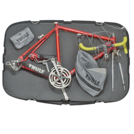 MTB When youre bike costs more than your car, protect it when you travel with the Thule Round Trip Bicycle Travel Case. This padded hardshell case accommodates both road and mountain bikes, and its rugged construction holds up to the most careless baggage handlers. The case can be locked for added security, and Thule included small bags for tools, dirty clothes, and accessories. The Round Trip features a sturdy strapping system and has wheels for easy transport. You can even ship this bad boy UPS if you want to travel light. - $419.95