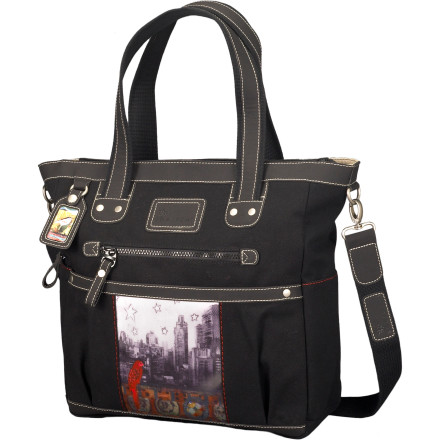Entertainment As if it weren't charming enough, Sherpani added a panel with the artwork of Cathy Nichols to the Nola Tote Bag to create a bag that makes you happy every time you throw it over your shoulder. This large cotton canvas tote with faux leather trim features plenty of organizational pockets that make it just as convenient as it is cute. - $99.95