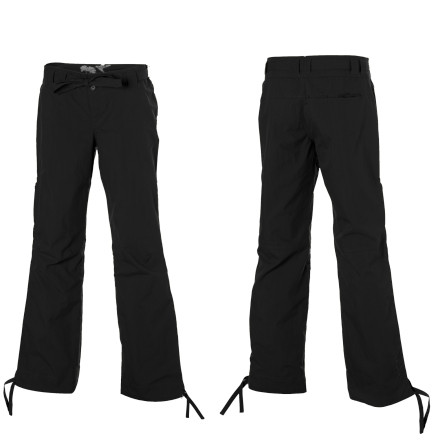 Climbing Blurr made the Women's Elise Pants with lightweight organic cotton and nylon fabric a gusseted crotch. So go ahead and attack your problemthese pants wont hold you back. The addition of nylon ripstop fabric boosts the Elise Pants durability so you can cruise techy sequences all season. Tie-up cuffs stay out of the way of foot placements, and the hidden back pocket and two thigh pockets hold your car keys and cash for the post-send celebration. - $39.98