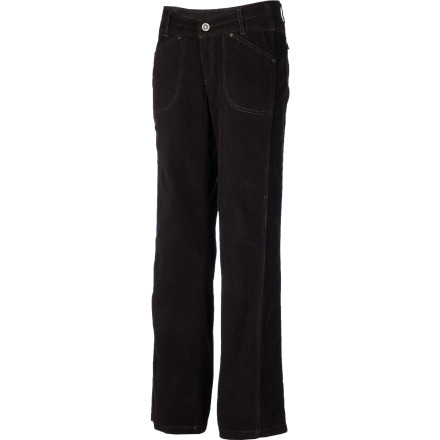 Corduroy trousers are somehow the 'comfort food' of pants, and the KHL Women's Kastra Kord Pant is no exception. KHL went even farther, giving the pant a touch of Lycra for a forgiving stretch and an engineered waistband that has you covered when you bend down to tie your shoes. - $74.95