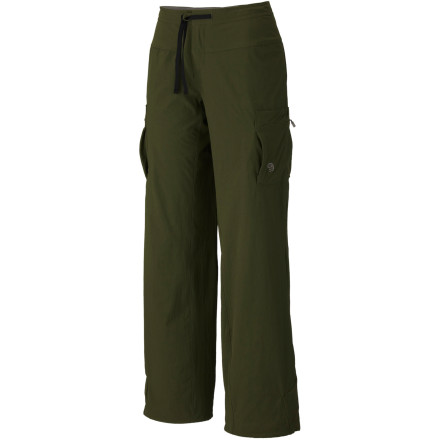 Camp and Hike The Mountain Hardwear Womens Yuma Pant doesnt shy away from mud or rain. This hiking pant takes on the mountain in all kinds of weather with a DWR finish that helps shed moisture. The Yumas four-way stretch fabric and inseam gusset let you maneuver up tough climbs, and the chamois-lined waistband features a drawcord for a comfortable fit. - $34.98