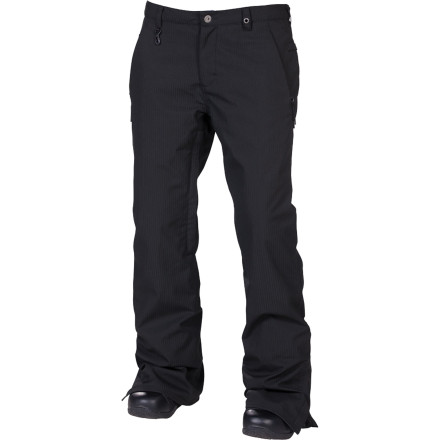 Snowboard The 686 Times Dickies Work Insulated Pant for Women features a 15K-rated poly fabric that has the look and durability of real Dickies workwear so it won't rip after a couple of spills, and fully taped seams help keep you from getting soaked while you're shredding. It's a good thing it's tough, too, because the vintage styling will be in fashion for many seasons to come. - $90.00