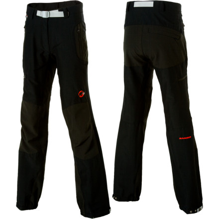 Ski Whether you're exploring the Alps, the Rockies, the Whites, or simply your local hiking trail, you're doing it in supreme comfort when you're wearing the Mammut Courmayeur Advanced Softshell Pants. These softshell pants are built from Schoeller Dryskin Extreme, whose name says it allit's lightweight and comfortable, while providing exceptional windproof, highly water-repellent protection. It also breathes like a champ and stretches any which way you ask it to. A touch of stretchier Schoeller Dynamic adds extra mobility, and ripstop reinforcement of the knees, hem, and seat protects against wear from crampons, ski edges, and rocks. - $228.95