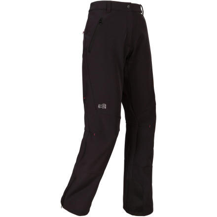 Climbing Hike, climb, ski' How about all three' The super-versatile Millet Women's Monterosa Softshell Pant has all the essentials for cold, inclement weather protection in a no-nonsense package that is appropriate for any or all alpine activity. Waterproofing, breathability, durability, fleece lining, gaiters, and semi-elastic waist give you all you need to hit the wall, hill, or both. And the Monterosa is devoid of superfluous bells and whistles that would weigh you down, so you can fly light and lean. - $90.26