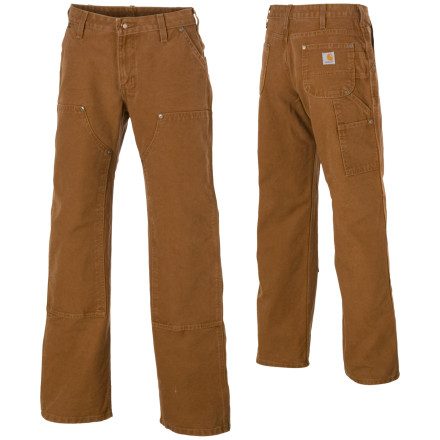 Hunting With a reinforced front and super-tough cotton duck construction, The Carhartt Double Front Sandstone Work Dungaree Pant isn't just for slingin' manure or laying concrete. The Double Front Work Dungaree Pant can handle the toughest jobs you throw at it. The riveted reinforced front and triple stitched seams ensure durability and the side tool pockets and double utility bands give you even more on-the-job convenience. - $29.24