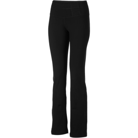 Fitness prAna gave the Women's Lolita Pant a straight-leg cut and an offset waistband for a pretty silhouette. Recycled Chakra performance fabric wicks and dries easily as you cool down from your final bridge pose, so you'll look just as pulled-together as when you started your workout. - $83.95