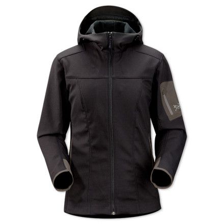 Ski The extremely versatile Arc'teryx Women's Epsilon SV Hooded Softshell Jacket serves as a breathable outer layer on cool hiking days or warm ski days. Arc'teryx's smooth-faced fleece resists precipitation and wind, and its inner fuzzy face insulates against the chilly mountain air. This jacket's long-ish length covers your lower back when you're in a ski stance, and a cozy softshell hood adds warmth if flurries fly. Arc'teryx gave the women's version of this jacket a figure-friendly cut so it won't look like you stole your boyfriend's coat. - $234.95