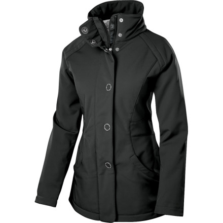 The Isis Women's Park City Softshell Jacket wins you over with its feminine-fitting cut, classic pea coat style, and wind- and water-resistant softshell construction. Ideal for strolls around the mountain village, walks to the train station, or winter travel, the Park City offers you comfy warmth and mountain style. - $98.42