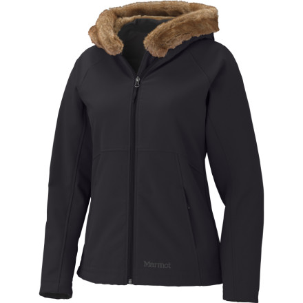 Ski Marmot takes the luxury of a five-star hotel and packs it into the Women's Furlong Softshell Jacket. Instead of Egyptian cotton sheets and fresh flowers, this jacket butters you up with water-repellent, breathable fabric and a delectably soft faux-fur-lined hood. The Furlong may not fold your toilet paper into a swan, but it does keep you comfortable with hand-warmer pockets and an athletic, stretchy fit so you can move easily whether you are stepping out of a limo or snowshoeing through the mountains. - $115.47