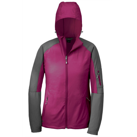 Camp and Hike With a name like an Italian sports car, the Outdoor Research Womens Ferrosi Hooded Softshell Jacket gives sleek and stylish protection from light weather, with added stretch for athletic activities like climbing or hiking. The tough Cordura fabric holds up to repeated trail abuse, and the offset front zipper wont rub against your chin. Outdoor Research also added hood and hem cinch cords for sealing out chilly wind. - $124.95