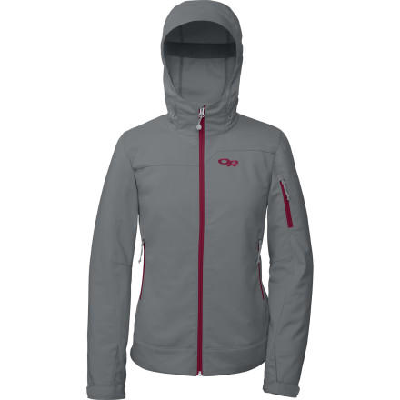 Ski The Outdoor Research Women's Transfer Softshell Jacket acts like a protective force-field to keep you warm, and its breathable fabric won't leave you feeling hot and sweaty or cold and clammy. Wear it by itself for cold-weather aerobic activity or layer it over a fleece when the temperature really drops and you feel like strapping on your skis for dawn patrol in the backcountry. - $76.97
