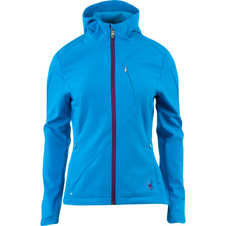 Fitness Slip the Spyder Women's Courmayeur Softshell Jacket over your sweater when you need to run a few errands around town. Its poppy colors and contrast edge stitching at defining seams provide a fresh look as you take in the wintery Mardi Gras festivities. - $98.42