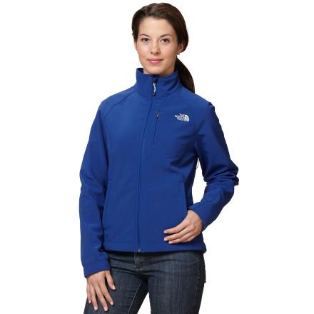 Ski The North Face built the Women's Apex Bionic Jacket with stretchy Apex Climateblock for total protection from cold, windy weather. In addition to blocking out the wind, the Apex Bionic is highly water resistant and breathable, making it great for hiking, XC skiing, or cold-weather runs. The jacket's soft-brushed fleece lining imparts some extra coziness, and internal stretch comfort cuffs keep drafts from snaking up your arms. Looks great, feels great, does the job. What more could you ask for in a softshell' - $104.27