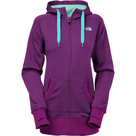 Stay drier with the North Face Cymbiant Women's Full-Zip Hoodie. The Apex softshell fabric features FlashDry technology, which allows moisture to pass through in both liquid and vapor states, accelerating dry time while maintaining a durable waterproof exterior. The result is you stay dryer, and feel less clammy and more comfortable over a wider range of temperatures and conditions. - $87.97