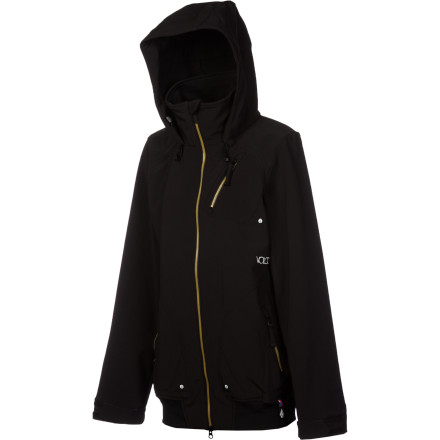 Surf Get weather protection without feeling hardshell-restricted: the Volcom Sass Softshell Jacket. The stretchy three-layer softshell material moves with you better than traditional shells without sacrificing waterproofing, and this jacket has an extra-long fit to keep your butt dry on the chairlift or the bar stool. - $91.98