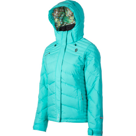 Ski Gone are the days of the marshmallow puff-monster and the soggy, clumpy down sponge: the Scott Women's Kendrick Jacket sheds the wet and warms you like an oven. A hood, powder skirt, and vents keep you at just the right temp whether you ride hard, go for a hike, or endure the cold wind whipping without mercy. Add oozing feminine style and bold color,  and you'll rip and rail all day while oglers fight the cold just to see you. - $192.47