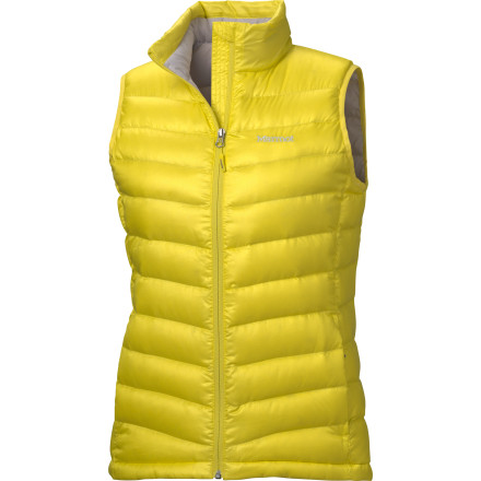 Stay toasty to the core with the Marmot Women's Jena Vest. When a jacket would be overkill on a cool fall evening or early spring afternoon downtown, enjoy the comfort and warmth of 800-fill goose down. This flattering vest weighs in at under ten ounces, so you'll barely notice that you're wearing it. A hemline drawcord helps seal out unwanted gusts of chilly wind, and pocket-packability makes this vest a must-have for travel. - $149.95