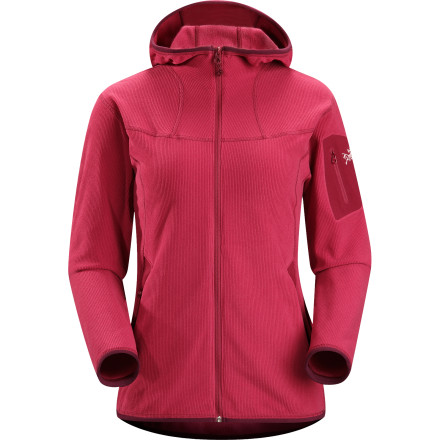 Ski Mountain meets town in the Arc'teryx Women's Caliber Women's Hooded Fleece Jacket. Cozy Polartec fleece gets an uptown treatment; a refined corduroy finish that makes this fleece hoody at home just about anywhere. Of course, Arc'teryx can be counted on for performance touches like a heat-trapping Scuba Hood and no-lift gusseted underarms that allow total freedom of movement. So whether your idea of a spring morning stroll is a three-mile hike with the dog or a three-block walk to the coffee shop, throw on the Caliber fleece and get moving. - $72.99