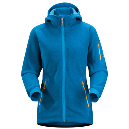 Ski Whether you wear the Arc'teryx Women's Strato Hooded Fleece Jacket alone for a hike or tour, or you layer it under your ski shell on a snow day, you'll dig its soft nubby texture and highly breathable insulation. Polartec Thermal Pro Cobble fleece insulates you against the chilly air and has the feel of a cozy wool sweater. A low-profile hood is great alone or tucked into your outer shell, and no-lift gusseted underarms mean the jacket stays in place as you move. A DWR coating sheds light rain and snow when the clouds blow in. - $112.48