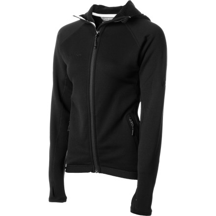 The Mammut Women's Aconcagua Fleece Hooded Jacket is the perfect choice for chilly early-morning runs, autumn leaf-raking sessions, and even technical multi-pitch rock climbs. The Polartec Power Stretch Pro fleece keeps you warm and complements the body-hugging cut for freedom of movement without excess bulk. - $92.92