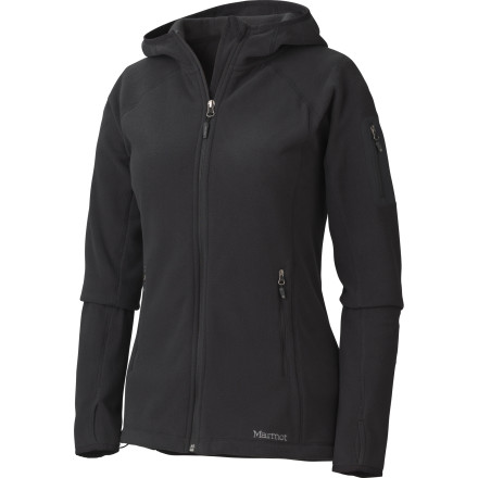 The light, breathable Marmot Flashpoint Hooded Fleece Jacket wants to go far and fast. It can do this as an under-layer or on its own, with a full hood and elastic cuffs and hem. But any way you wear it, you'll feel it eager for action. - $124.95