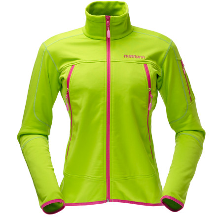 Ski Give your workout wardrobe some techy Norwegian flair with the Norrna Womens Narvik Warm2 Stretch Jacket. The 200-weight Warm2 fleece stretches to move with you and keep you comfortable on your skate ski or all-afternoon snowshoe, yet is dense and wind-resistant enough to trap heat when the sun starts to drop in the sky and the wind picks up. The jackets slim, form-fitting cut and eye-catching, high-contrast zips on the front and pockets make a statement when it is worn on its own; on colder days on the slopes, tuck you thumbs into the thumb loops and pull a shell over the Navik Warm2 jacket for comfortable, breathable warmth. - $92.24