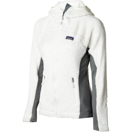The Patagonia Women's R3 Hi-Loft Hooded Fleece Jacket transforms you into a hardcore, badass, mountain-lion-slaying, ready-to-conquer-any-mountain chick. How does it do this, you might ask' Well, this compressible jacket conserves body heat and wicks moisture away when you go full-throttle out in the great outdoors. Thanks to the Regulator 3 technology, this high-loft fuzzy hoody is Patagoni'As warmest layering piece. - $132.30
