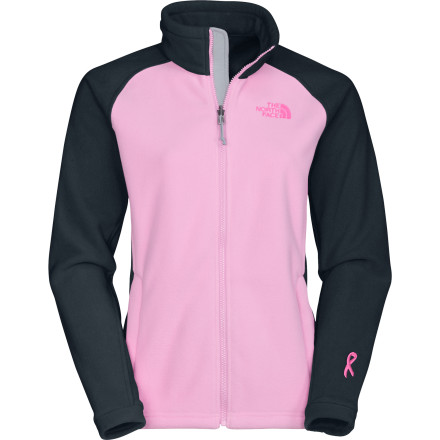 Spice up your outerwear with a splash of pink while helping to support Boarding for Breast Cancer with The North Face Women's B4BC Khumbu Fleece Jacket. This sweet piece easily zips into other North-Face-complementing garments, has a hem cinch-cord, and has two hand pockets to warm your chilly hands or stash your small essentials. The North Face also gave the B4BC a full-front zip with windflap and an extremely durable, anti-pill surface. - $62.97