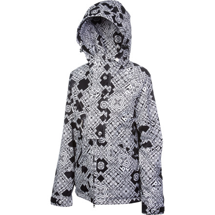 Snowboard The Nikita Women's Mandala Jacket serves up fresh style thanks to bold print and sleek design. Not only will this jacket keep you snug for all-day resort riding, but it will keep you looking good too. Zip up in this jacket when you want to rock a unique look and stay cozy, too. - $124.48