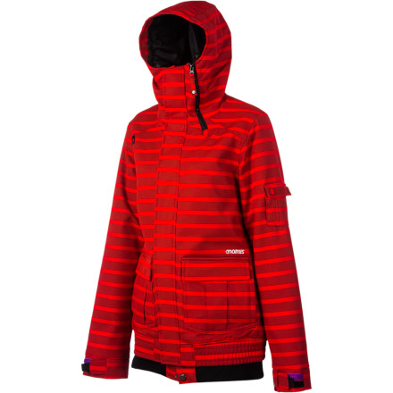 Snowboard The Nomis Gleam Jacket features storm-worthy waterproofing, mid-weight synthetic insulation, and a super-cute tonal striped style you'll want to wear both on and off the hill. - $149.97