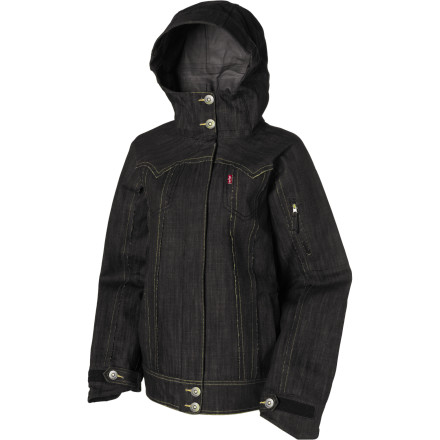 Snowboard Unlike your old denim jacket, The 686 Times Levis 3-Ply Process Women's Denim Snowboard Jacket is a technical 3-ply shell that's ready for a harsh winter. One part Levis, one part 686, and 100% style-obsessed all-mountain-worthy performance. - $79.99