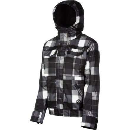 Snowboard Wouldn't it be great if it was warm and sunny all the time so you could ride in a flannel every day' But since you can't because of those pesky things called 'wind,' 'snow,' and 'cold,' you'll have to turn to the next best thing, the Sessions Energy Plaid Women's Snowboard Jacket. It has a plaid pattern fabric for a more street-style look that also repels water and blocks wind, with 80g synthetic insulation in the body to keep you toasty when temps start plummeting. - $89.98
