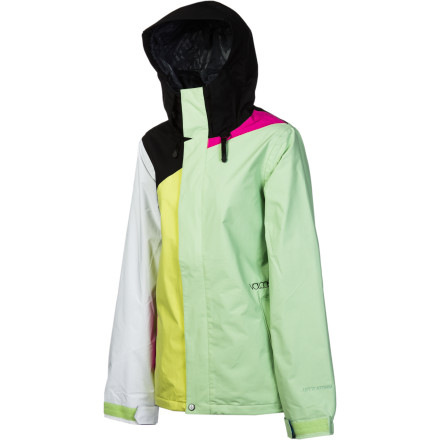 Snowboard The Volcom Mellea Jacket combines cute color-blocked style with reliable weather resistance, all at the price of about 2 ski-lodge lunches (OK, so that might be a bit of an exaggeration). V-Science tech pulls moisture away from your skin to keep you dry from the inside, while the shell construction gives you plenty of room to add layersand also works great by itself in milder weather. - $76.48