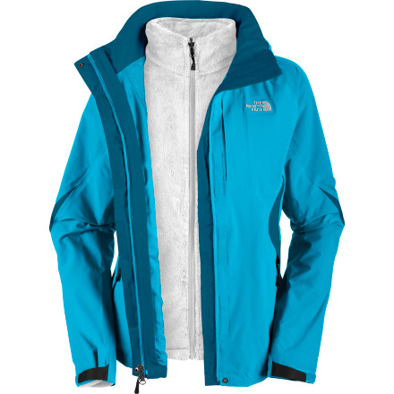 Ski Enjoy year-round outdoor adventures in The North Face Women's Boundary Triclimate Jacket. On its own, the removable silken fleece liner surrounds you in coziness on crisp fall mornings; zipped into the HyVent waterproof breathable shell, it protects you from winter weather chills. Wear the shell alone on bluebird ski days or for shelter on showery spring afternoons and wet summer hikes. - $181.97