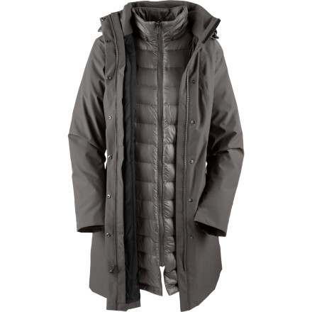 Whether you're trying to endure winter's wrath among the skyscrapers or the mountains, The North Face Women's Suzanne Triclimate Down Trench Coat provides all the protection and warmth you'll need. This three-in-one jacket has a goose-down insulated liner that easily removes on sunny, warm spring days, while its stylish shell can be worn alone on blustery fall afternoons when you wander Central Park. - $258.47