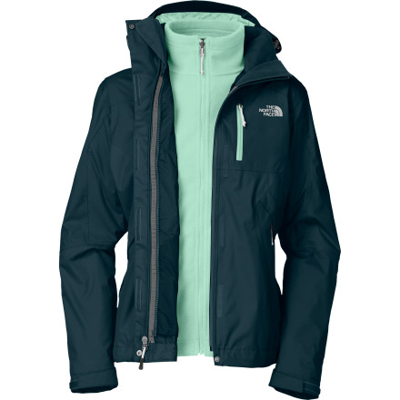 Replace your rack full of winter jackets with the versatile, three-in-one The North Face Women's Adele Triclimate Jacket. On the outside, a waterproof breathable shell shrugs off the wettest, nastiest winter weather, and underneath, a warm, textured fleece liner jacket keeps you toasty-warm. Mix and match this jacket system to match the weather, mild or nasty, and you'll never again step outside and wish you had some 'other' jacket. - $167.97
