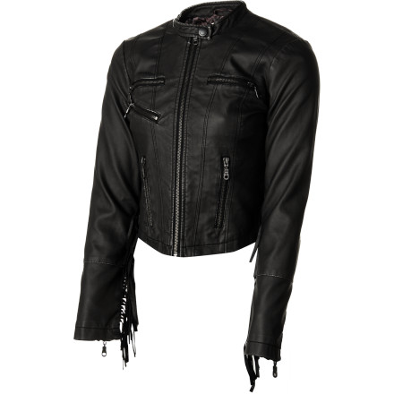 Auto and Cycle A classic motorcycle is the ultimate accessory for the Billabong Women's Mad Luv Jacket, but don't worry: it's not required. You can channel your inner biker-chick anywhere you wear this sexy moto-style faux leather jacket, no matter how you arrive on the scene. - $59.67
