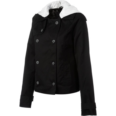 Hunting Button up in your double-breasted Hurley Women's Watson Trench Coat before you duck out of work for a long lunch. This jacket mixes old-school style with a modern cut and a jersey hood to give you a look that is versatile and easy to wear whether you're headed to work or escaping it. - $35.78