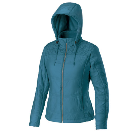 Fitness Throw on the Isis Women's Bliss jacket and the fashion police will give you two thumbs up, even if you get caught in the rain just before you run into them. In the style department, the Bliss features princess seams and embroidery details at the shoulders. On the utility side of things, a soft fleece lining and water-repellent finish keep you warm and dry, while a playful but useful hood tops things off. - $47.69
