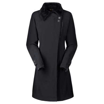 Since you dont live in the backcountry, wear the Mountain Hardwear Womens Tuja Trench Coat on those days you spend in the city. This urban-styled trench coat features a sleek softshell exterior that keeps out the wind and light precipitation. The luxuriously soft lining not only feels good, it also helps you stay warm from your neck to your knees. Several pockets hold valuablesan internal pocket with an earpiece cord exit fits your cell or MP3. - $79.49