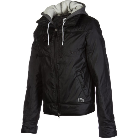 Ski The Nike Women's Pearl Jacket crams a ton of cold-weather functionality and layering versatility in a flattering shell that will unlock hot style for frigid winter days. Part hoodie and part bomber, the Pearl incorporates ski-town-worthy storage and warmth with street-savvy finishing. - $95.96