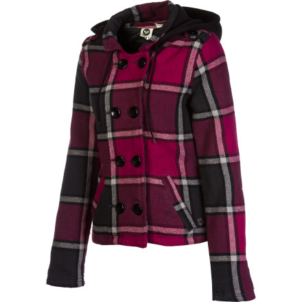 Surf It's getting cold enough that cross-campus forays require a little more coverage; create some drama when you emerge from your room wearing the Roxy Women's Wysteria Hooded Jacket. Its crisp style covers up your usual jeans and tees with a touch of class. - $48.43