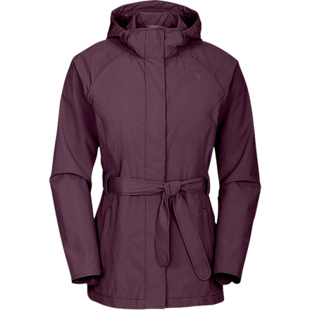The North Face Women's K Jacket is loaded with fashionable flair, but it is fully capable of keeping you dry in a storm. The waterproof breathable HyVent 2L fabric and taped seams prevent spring showers from dampening your day; a fully adjustable hood and two-way zipper offer extra functionality, while the removable waist belt lets you customize your look. - $94.98